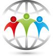 Drei Personen, Menschen, Erdball, Erde, Partner, Team, Freunde
