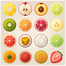 Set Of Fruit Halves. Vector Ic...