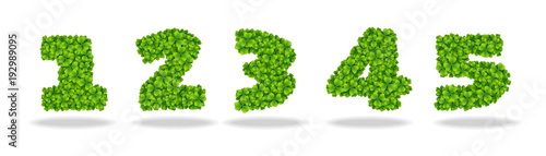 Fotomural  Numeral from the leaves of the clover. Numeral 1-5