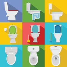 Toilet Bowl Icons Set. Flat Il...