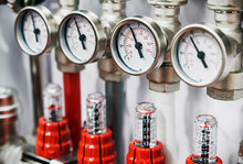 Fixture Pipes And Fittings For Connection Of Water Or Gas Systems. Focus On Pressure Gauge