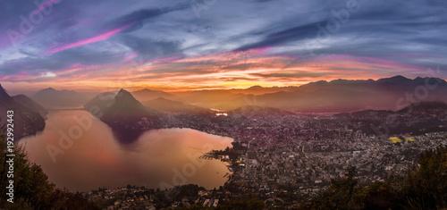 Foto auf AluDibond Schokobraun Lugano - Switzerland