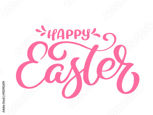 Valokuva  Hand drawn happy Easter calligraphy and brush pen lettering
