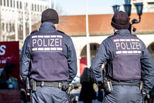 German Federal Police Officer Protecting The City