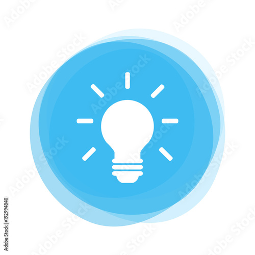 Canvas Print Weiße Glühlampe auf hellblauem Button