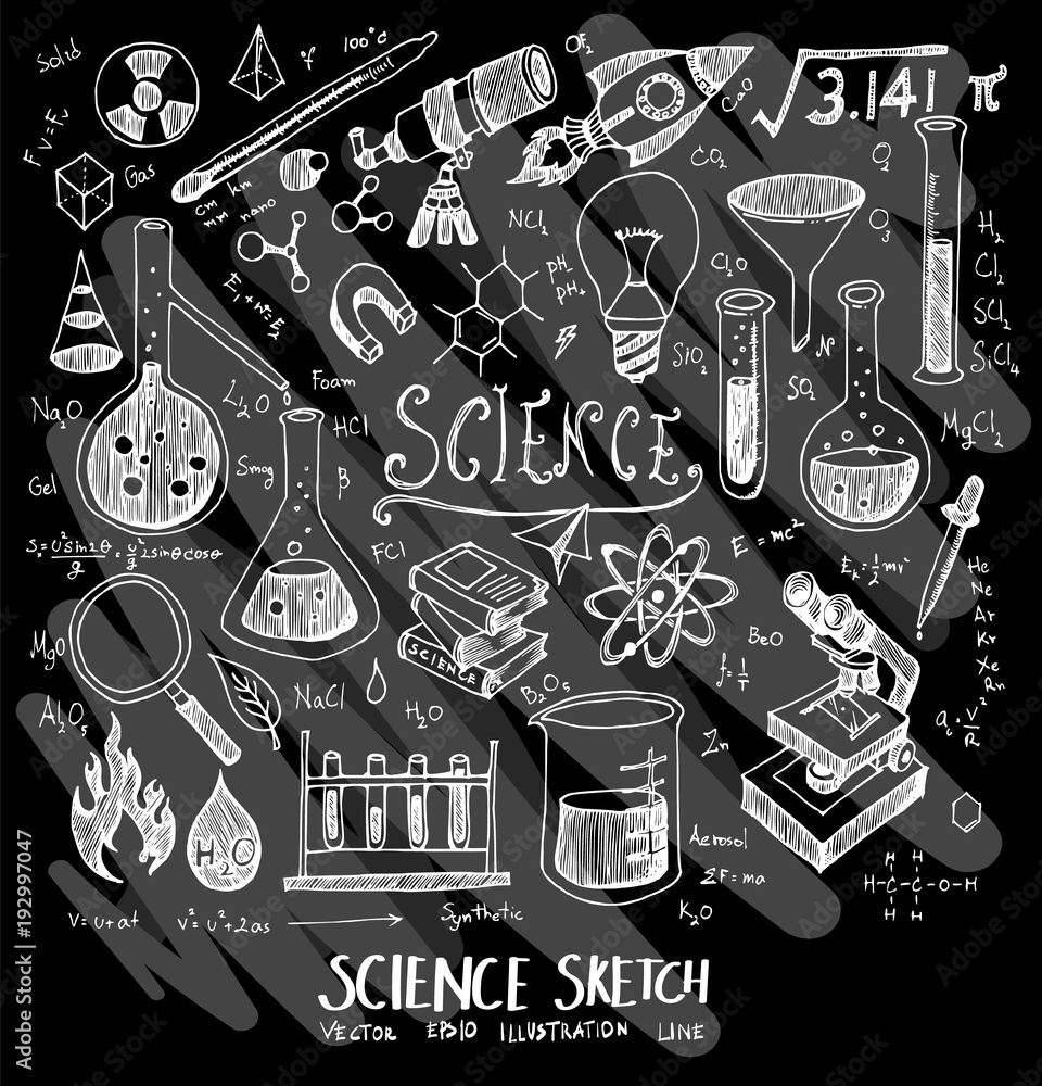 Science doodle illustration wallpaper background line sketch style set on chalkboard eps10