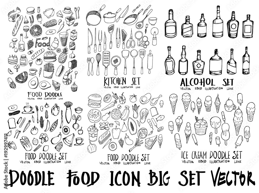 Fototapety, obrazy: Food doodle illustration wallpaper background line sketch style set on chalkboard eps10