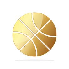 Gold Basketball Ball. Vector Illustration.