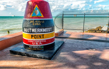 Southernmost Point In Florida. It Is The Famous Landmark Of The Southernmost Point Of The United States