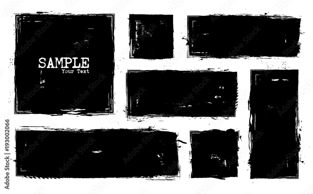 Fototapeta Grunge style set of square and rectangle shapes . Vector
