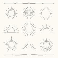 Set Of Vintage, Hipster Sunburst Shapes. Shine Sun Ray Set.  Sunset Icons. Trendy Hand Drawn Retro Bursting Rays Design. Hipster Banner Elements.  Radiant Sun Flashes, Geometric Dividers.