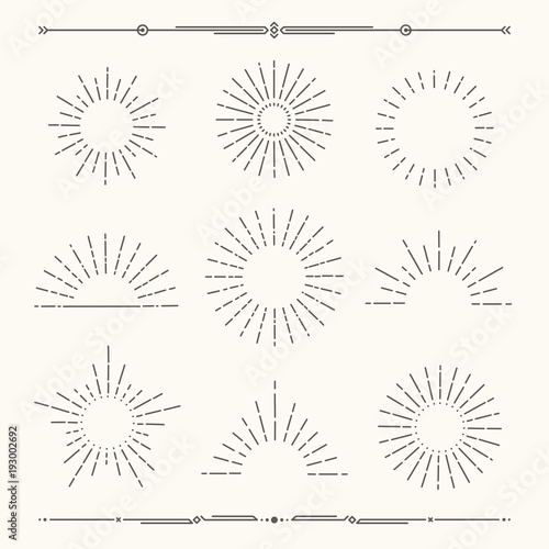 Set of vintage, hipster sunburst shapes. Shine sun ray set.  Sunset icons. Trendy hand drawn retro bursting rays design. Hipster banner elements.  Radiant sun flashes, geometric dividers.   Wall mural