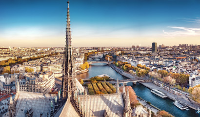 Fototapeta Miasta High resolution aerial panorama of Paris, France. The river Seine and autumn colors with blue sky.