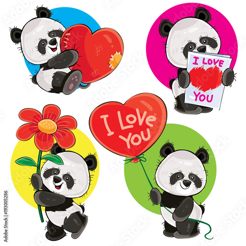 Valentine Day Vector Cartoon Set With Cute Panda Bears With Soft