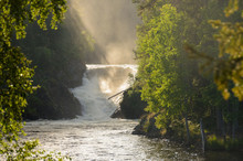 Waterfall In Northern Finland In Summer. Golden Sunlight.