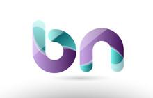 3d Letter Bn B N Green Purple ...
