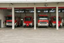 Fire Trucks In Garage. Fire Trucks Are Parked In A Garage