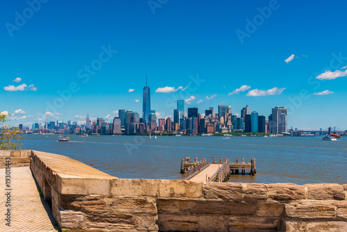 View on Manhattan New York City from Liberty Island Poster