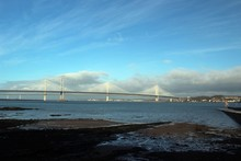 Forth Road Bridge And Queensferry Crossing From Queensferry.