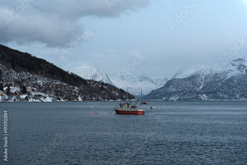 Poster Antarctique View of the harbor of Lyngseidet in Troms county, Norway