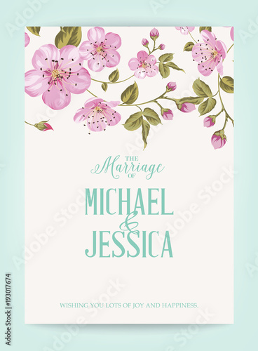 Marriage invitation card with pink flowers vintage wedding card marriage invitation card with pink flowers vintage wedding card with template names and flower garland mightylinksfo