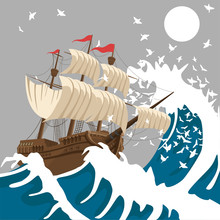 Sail Ship In Strong Storm In T...