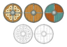 Set Wood Round Shields With Vi...
