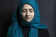 An Arab Woman Is Crying. Portr...