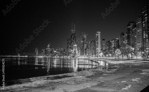 Fototapeta Big city skyline on water at night obraz na płótnie