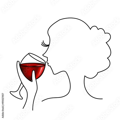 Fotografía  Tasting red wine - Illustration with a woman who taste a glass of red wine