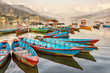 canvas print picture - Boats on Lake Fewa, Pokhara, Nepal