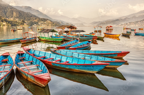 Wall Murals Nepal Boats on Lake Fewa, Pokhara, Nepal
