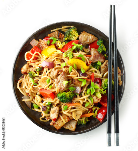 Plate of noodles with meat and vegetables