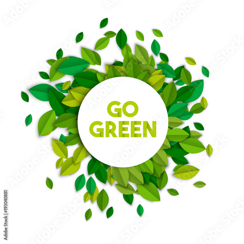 Canvas Print Go green ecology sign concept with tree leaves