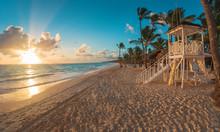 Punta Cana Sunrise Over Caribbean Beach With Lifeguard Station