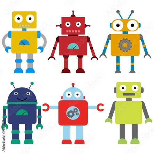 Foto  Set of a colorful toy robots