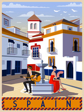 Summer Day In Small Town, Andalusia, Spain. Handmade Drawing Vector Illustration. Retro Style.