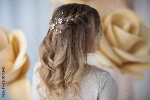 Foto auf Leinwand Friseur wedding hairstyle, rear view
