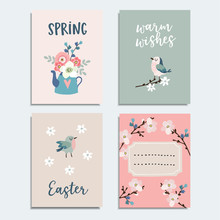 Set Of Cute Spring, Easter Greeting Cards, Invitations With Flowers, Cherry Blossoms, Birds And Tea Pot. Isolated Vector Collection.