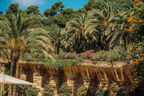 Stampa su Tela Caves and colonnades in Parc Guell Barcelona