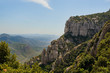 A mountain view with monastery on the top in Montserrat, Spain