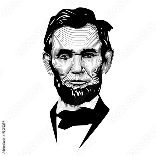 Fotografia  Historic Black White Monochrome Vector Line Art President Abraham Lincoln
