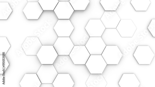 Fototapety, obrazy: Hexagonal structure futuristic white background. 3D illustration