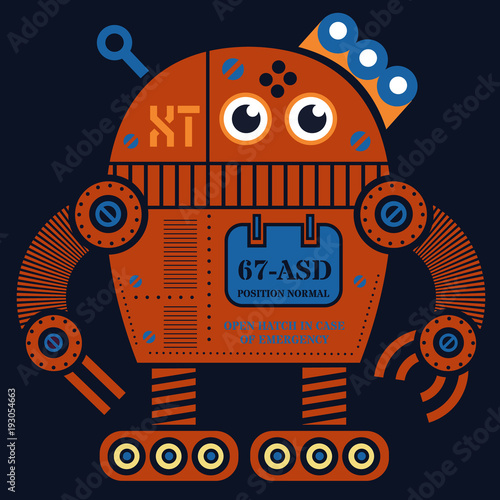 Rolling robot 2 illustration Poster