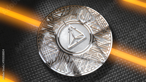 TRON Coin (TRX) Blockchain Cryptocurrency Altcoin 3D Render TRON TRX