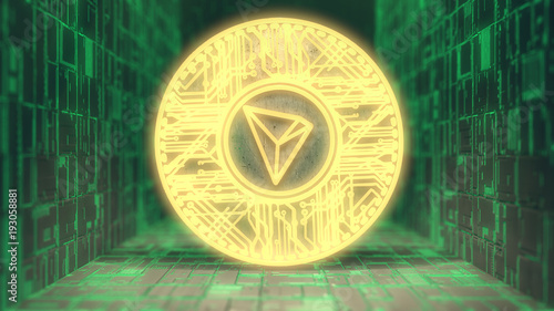 TRON Coin (TRX) Blockchain Cryptocurrency Altcoin 3D Render