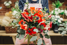 Anonymous Worker Of Floral Shop Holding Amazing Creative Bouquet In Hands.
