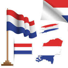 Netherlands Flags Special Vector Illustration