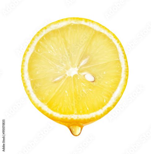 Honey dripping from lemon slice isolated Poster