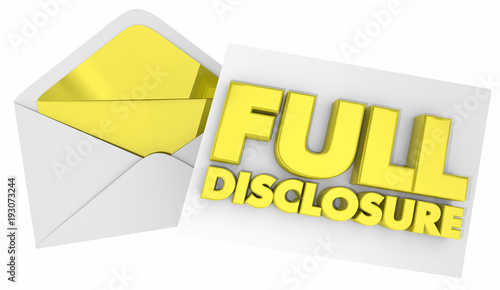 Full Disclosure Envelope Note Message 3d Illustration Canvas Print